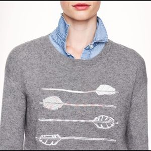 J. Crew Arrow Embroidery Print Grey Knit Sweater